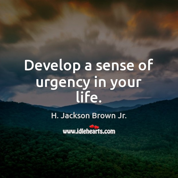 Develop a sense of urgency in your life. H. Jackson Brown Jr. Picture Quote