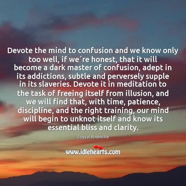 Devote the mind to confusion and we know only too well, if Sogyal Rinpoche Picture Quote