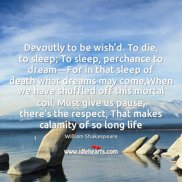 Image, Devoutly to be wish'd. To die, to sleep; To sleep, perchance to
