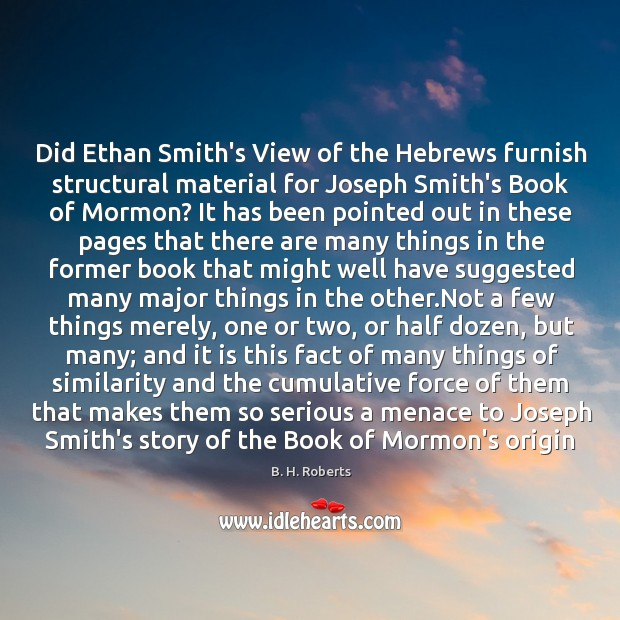 Image, Did Ethan Smith's View of the Hebrews furnish structural material for Joseph