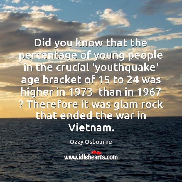Did you know that the percentage of young people in the crucial Image