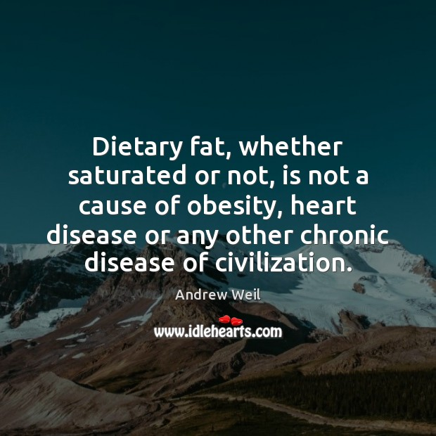 Dietary fat, whether saturated or not, is not a cause of obesity, Andrew Weil Picture Quote