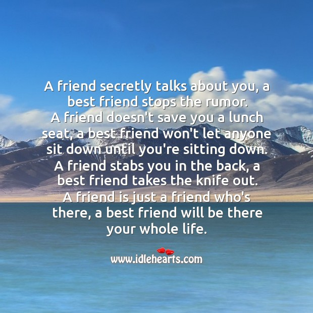 Difference between a friend and a best friend. Best Friend Quotes Image