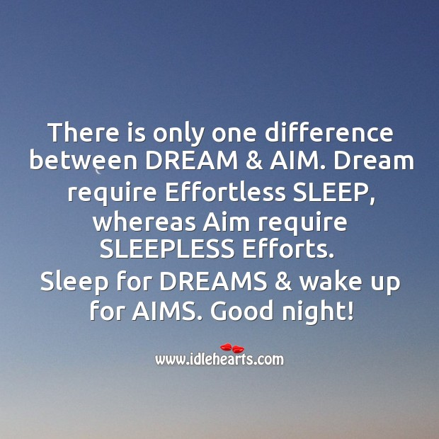 Difference between dream & aim. Good Night Messages Image