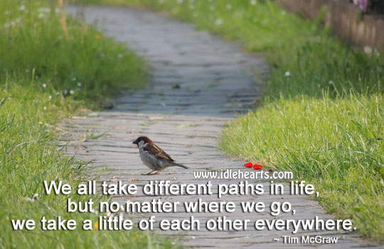 We all take different paths in life. Tim McGraw Picture Quote