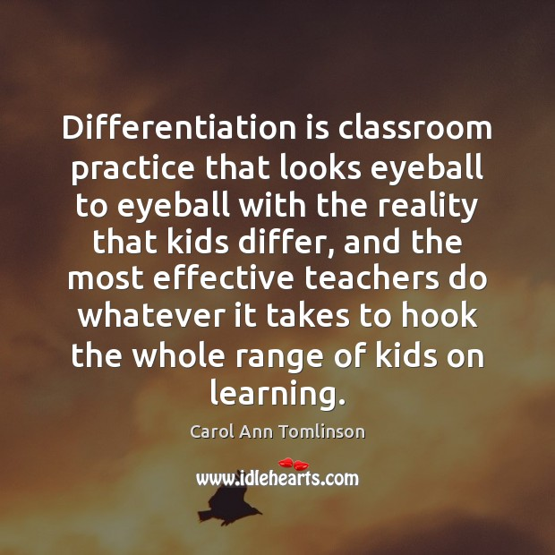 Differentiation is classroom practice that looks eyeball to eyeball with the reality Image