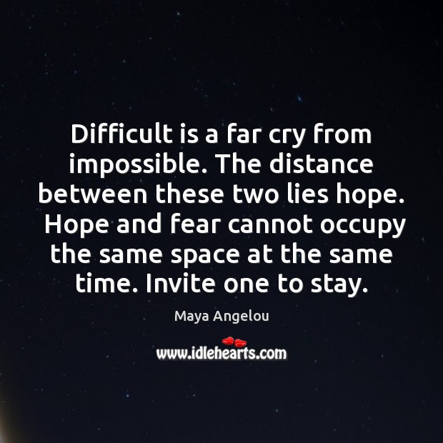 Difficult is a far cry from impossible. The distance between these two Maya Angelou Picture Quote