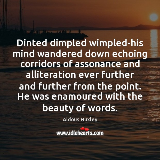 Image, Dinted dimpled wimpled-his mind wandered down echoing corridors of assonance and alliteration