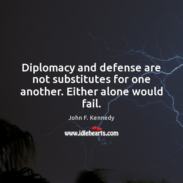 Image, Diplomacy and defense are not substitutes for one another. Either alone would fail.