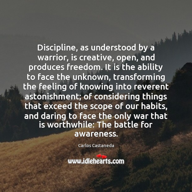 Image, Discipline, as understood by a warrior, is creative, open, and produces freedom.