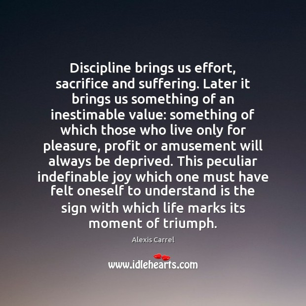 Image, Discipline brings us effort, sacrifice and suffering. Later it brings us something