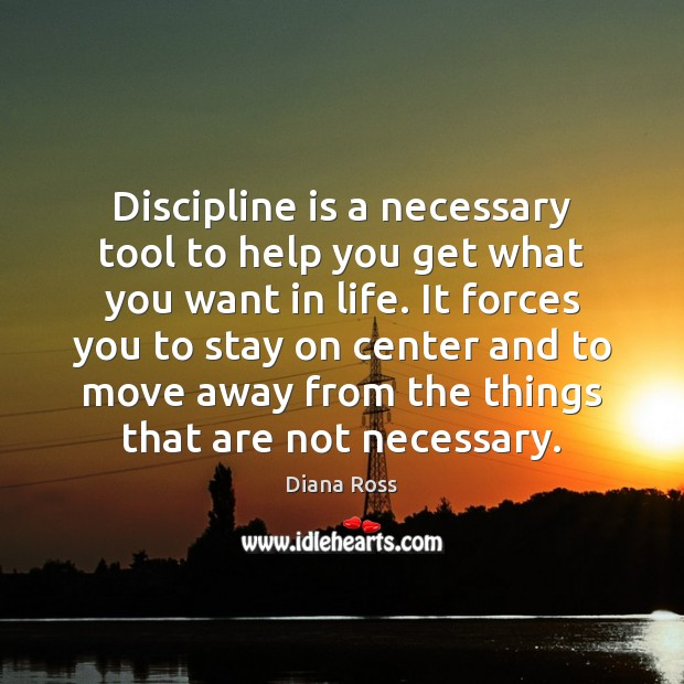 Discipline is a necessary tool to help you get what you want Diana Ross Picture Quote