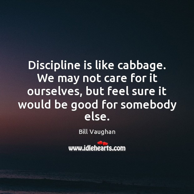 Discipline is like cabbage. We may not care for it ourselves, but Bill Vaughan Picture Quote