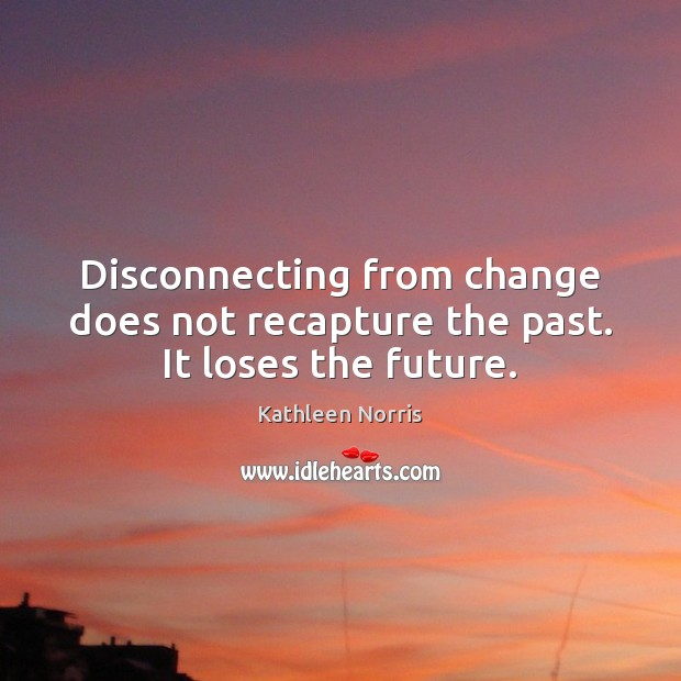 Disconnecting from change does not recapture the past. It loses the future. Image