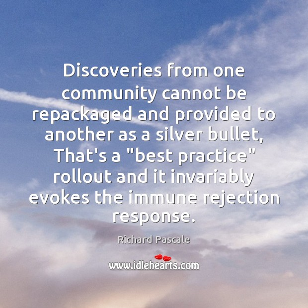 Image, Discoveries from one community cannot be repackaged and provided to another as