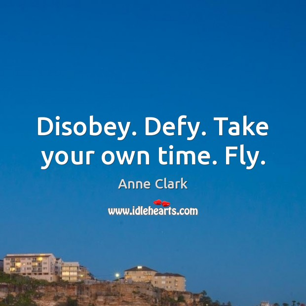 Disobey. Defy. Take your own time. Fly. Image