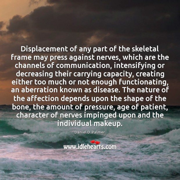 Image, Displacement of any part of the skeletal frame may press against nerves,