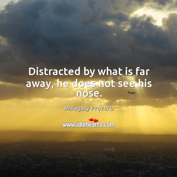 Distracted by what is far away, he does not see his nose. Malagasy Proverbs Image