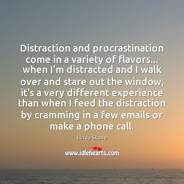 Distraction and procrastination come in a variety of flavors… when I'm distracted Procrastination Quotes Image