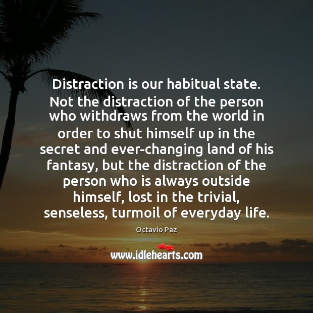 Distraction is our habitual state. Not the distraction of the person who Secret Quotes Image