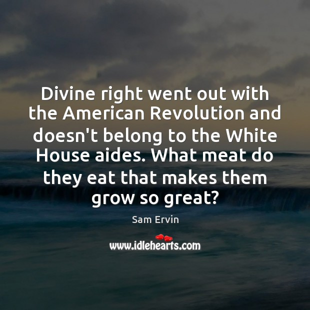 Image, Divine right went out with the American Revolution and doesn't belong to