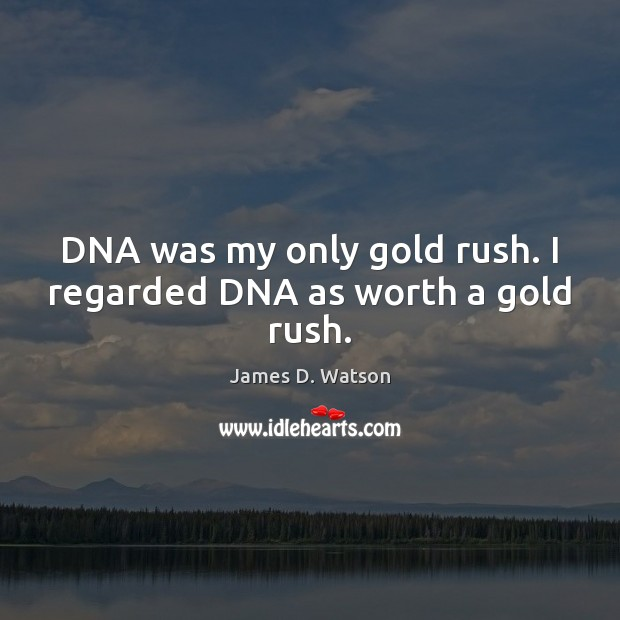 DNA was my only gold rush. I regarded DNA as worth a gold rush. James D. Watson Picture Quote