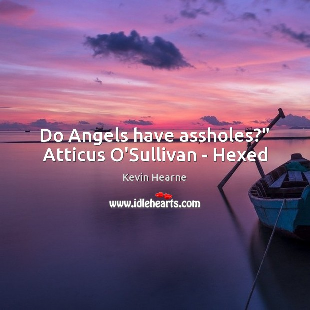 """Do Angels have assholes?"""" Atticus O'Sullivan – Hexed Kevin Hearne Picture Quote"""