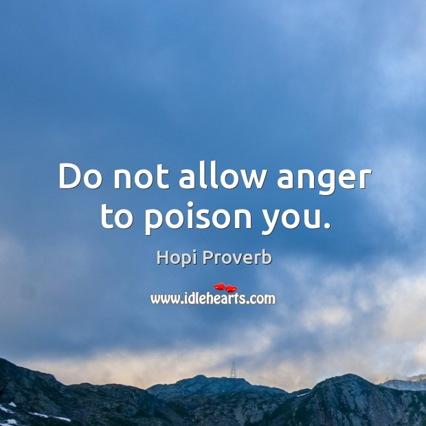 Do not allow anger to poison you. Hopi Proverbs Image