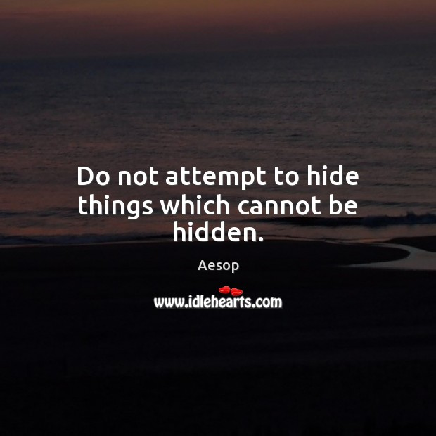 Do Not Attempt To Hide Things Which Cannot Be Hidden