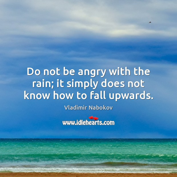 Do not be angry with the rain; it simply does not know how to fall upwards. Image