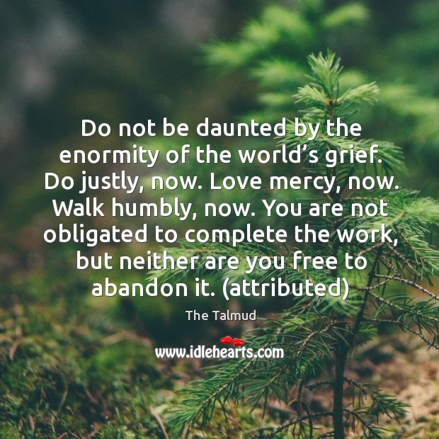 Image, Do not be daunted by the enormity of the world's grief. Do justly, now. Love mercy, now.