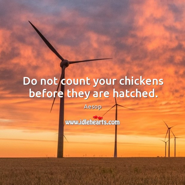 Image, Do not count your chickens before they are hatched.