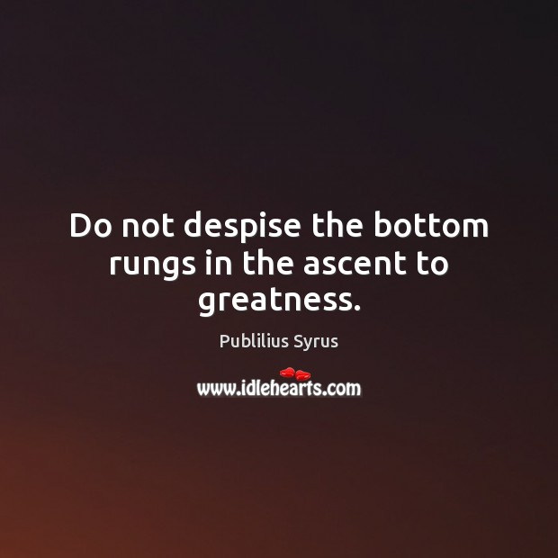 Do not despise the bottom rungs in the ascent to greatness. Publilius Syrus Picture Quote