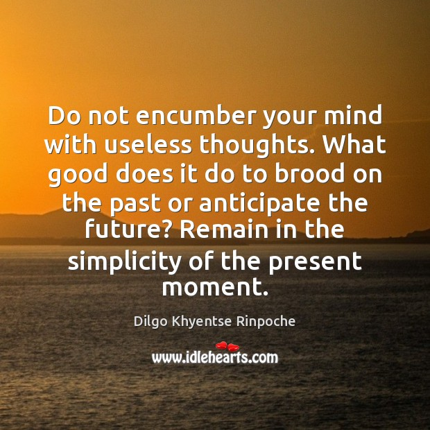 Do not encumber your mind with useless thoughts. What good does it Dilgo Khyentse Rinpoche Picture Quote