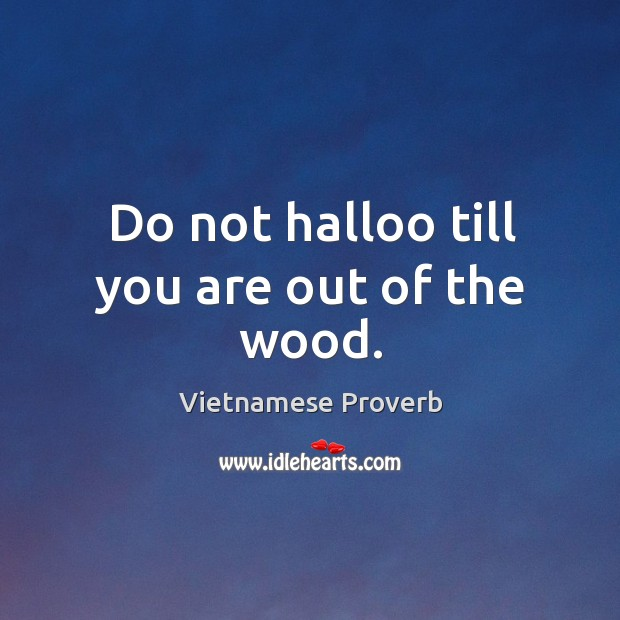 Do not halloo till you are out of the wood. Vietnamese Proverbs Image