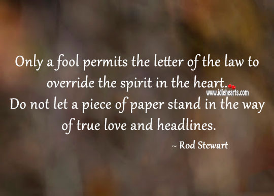 Only a fool permits the letter of the law to override the spirit in the heart. Fools Quotes Image