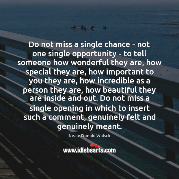 Do not miss a single chance – not one single opportunity – Neale Donald Walsch Picture Quote