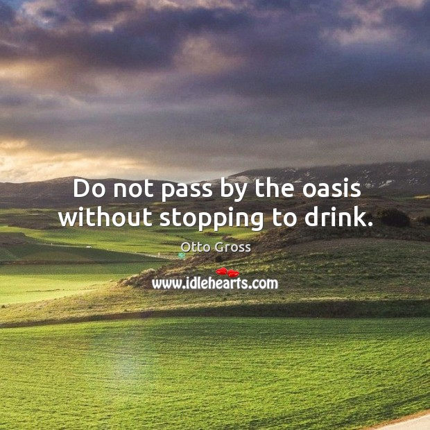Do not pass by the oasis without stopping to drink. Image
