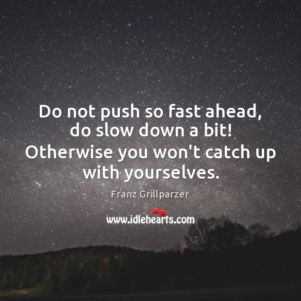 Do not push so fast ahead, do slow down a bit! Otherwise Franz Grillparzer Picture Quote