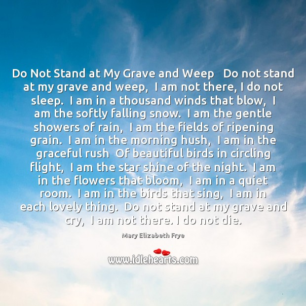 do not stand at my grave and weep analysis