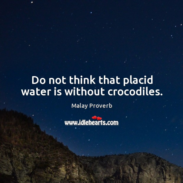 Do not think that placid water is without crocodiles. Malay Proverbs Image