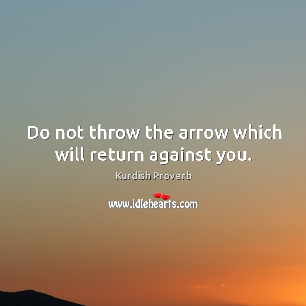 Do not throw the arrow which will return against you. Kurdish Proverbs Image