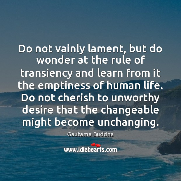 Do not vainly lament, but do wonder at the rule of transiency Gautama Buddha Picture Quote