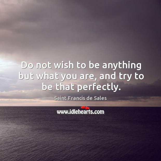Do not wish to be anything but what you are, and try to be that perfectly. Image