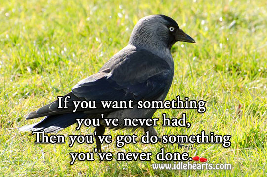 Want something? do something you've never done. Wise Quotes Image