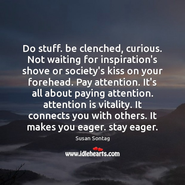 Do stuff. be clenched, curious. Not waiting for inspiration's shove or society's Image