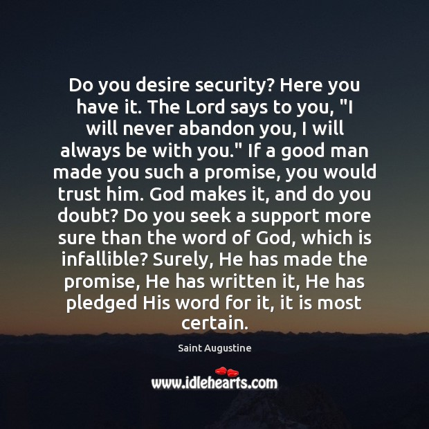 Do you desire security? Here you have it. The Lord says to Image