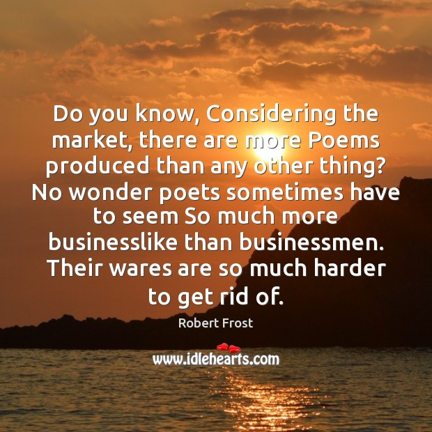 Do you know, Considering the market, there are more Poems produced than Image