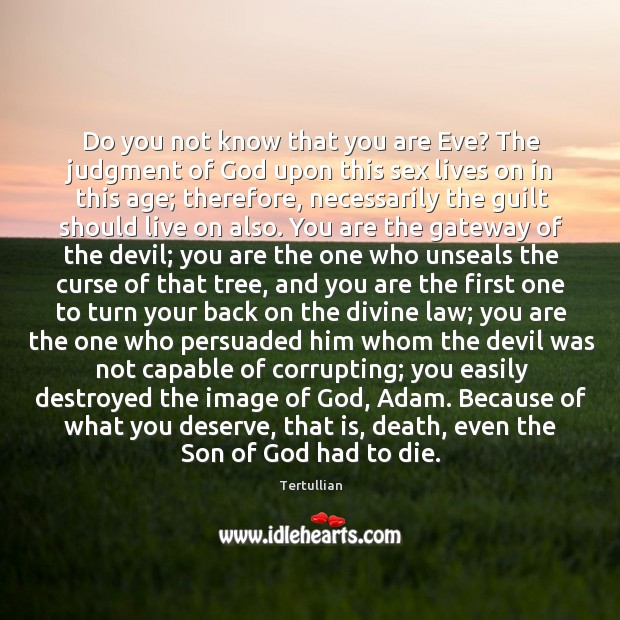 Do you not know that you are Eve? The judgment of God Image