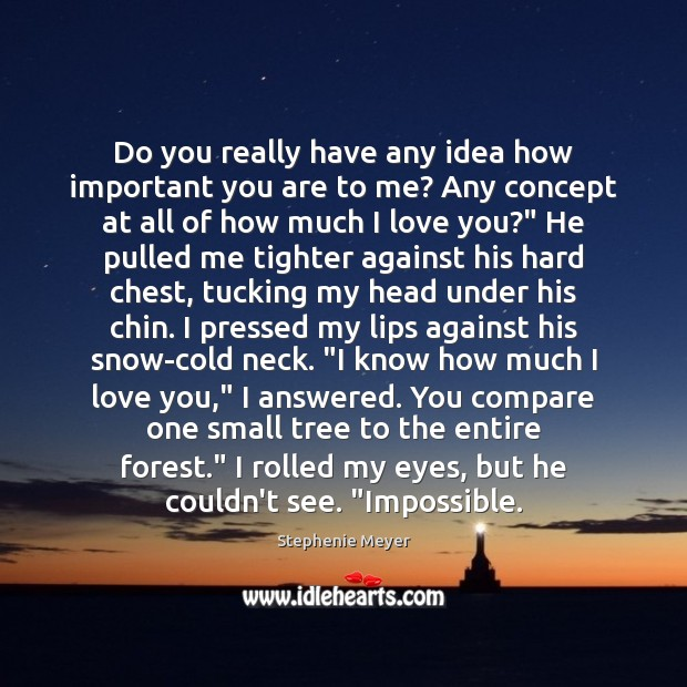 Do you really have any idea how important you are to me? Image